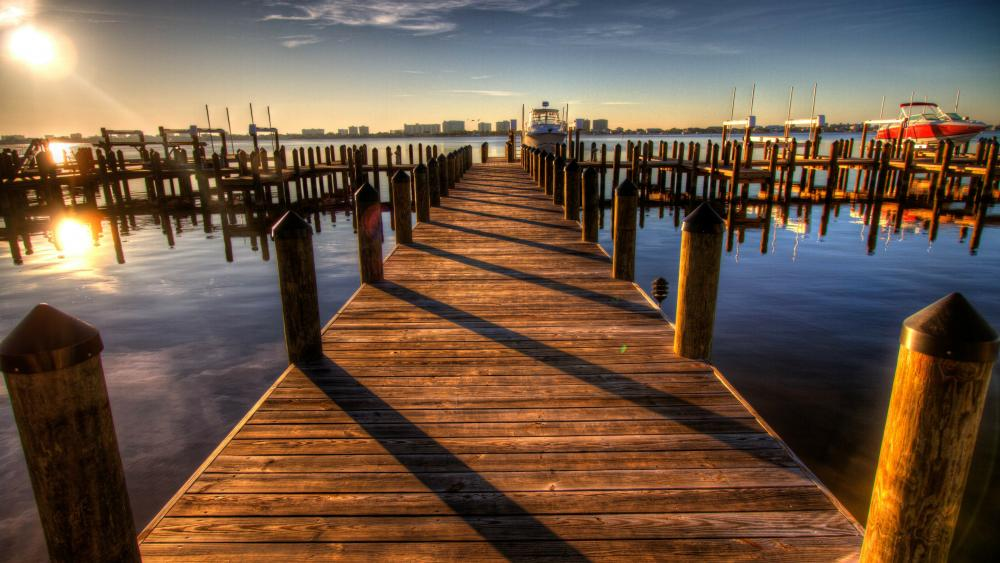 Peacful pier in the sunset wallpaper