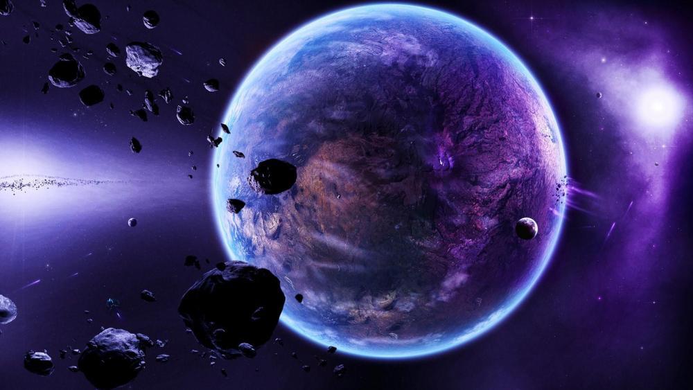 Meteorites close to Earth wallpaper