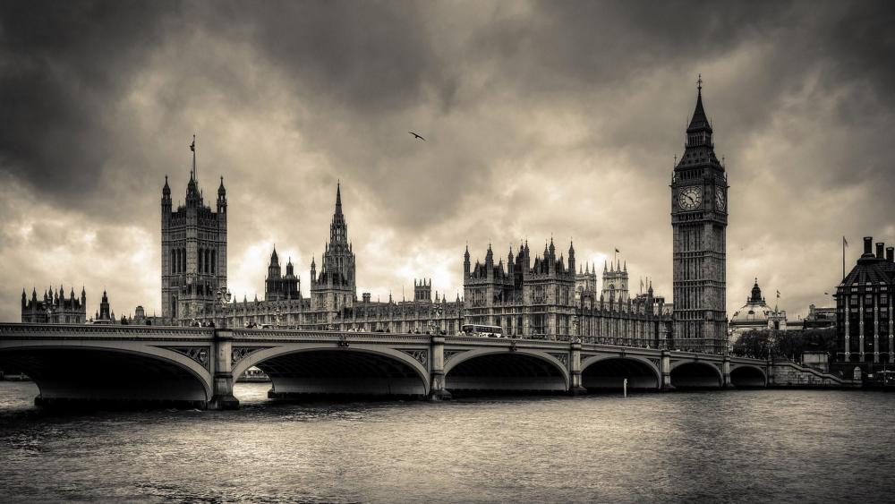 River Thames - Monochrome photography wallpaper