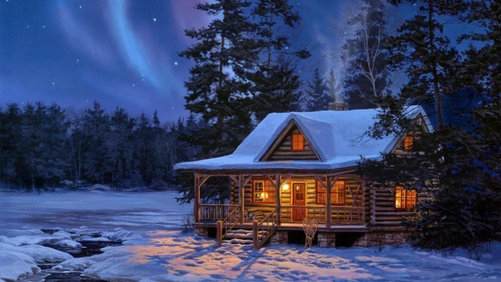 Polar lights over the log cabin wallpaper