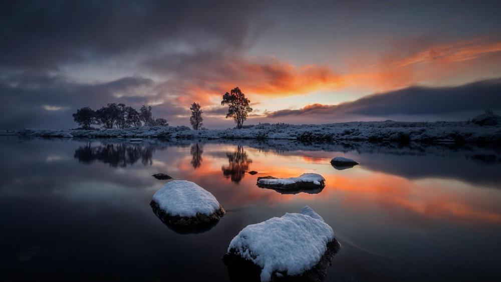 Winter sunset reflection wallpaper