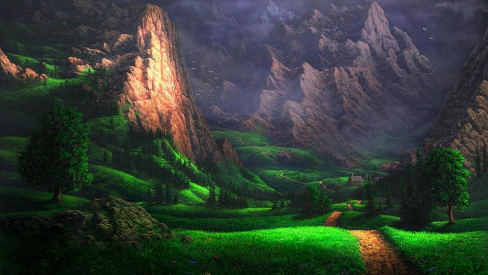 Mountain forest wallpaper
