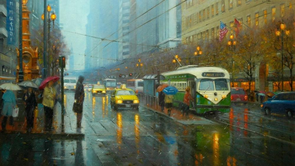 Rain in the city - Painting art wallpaper