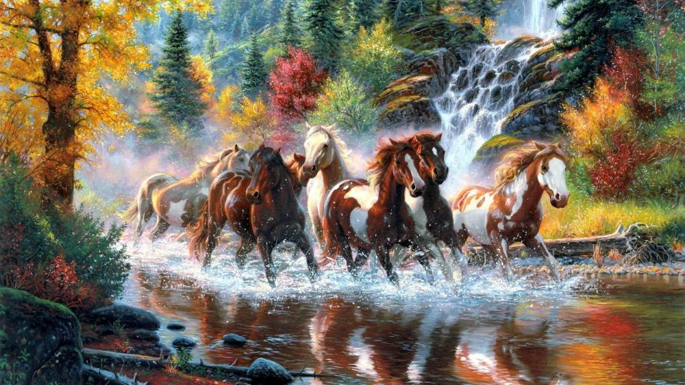 Horses in the river - Painting art wallpaper