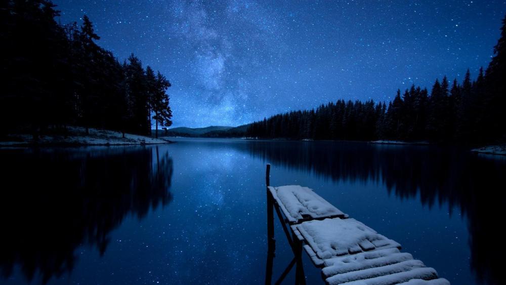 Milky way reflection wallpaper
