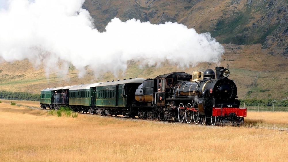 Steam locomotive in the field wallpaper