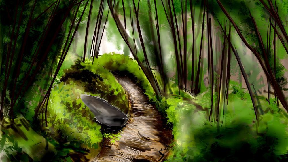 Tropical forest art wallpaper