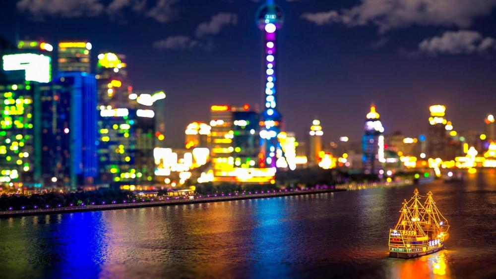 Huangpu River at night wallpaper