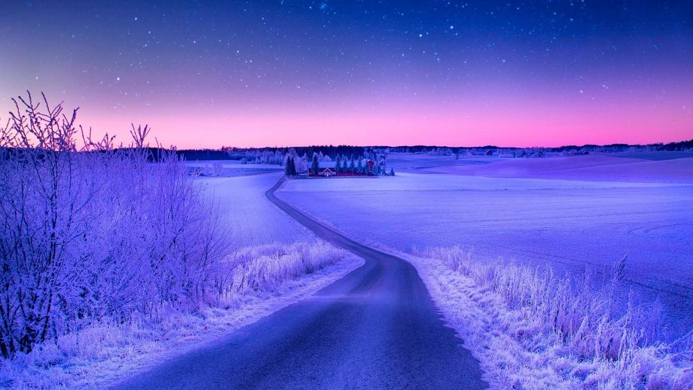 Frozen night road wallpaper