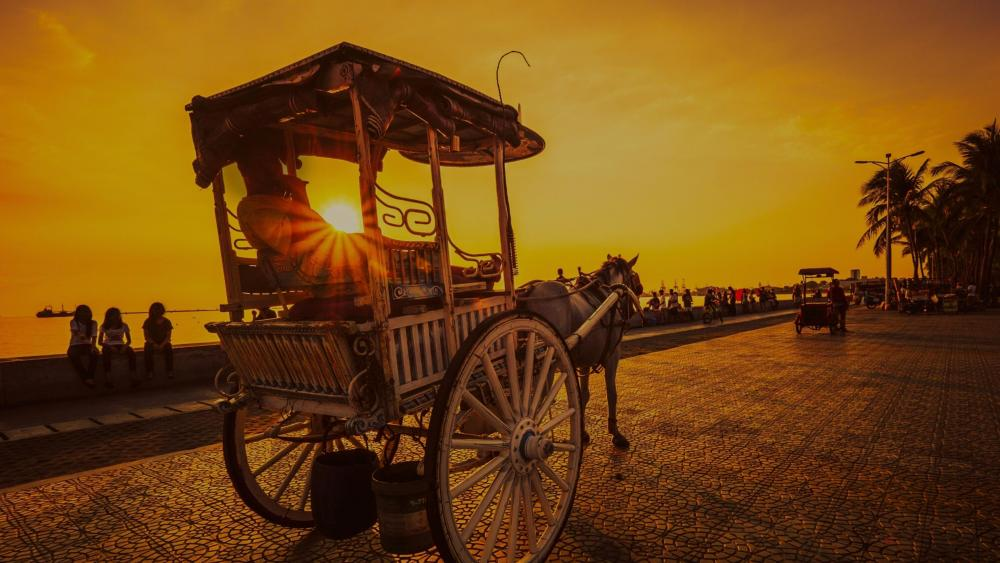 Horse cart in the sunset - Manila wallpaper
