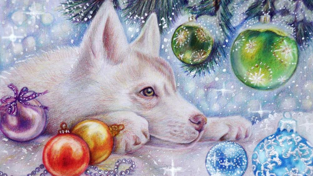 Husky with christmas decoration wallpaper