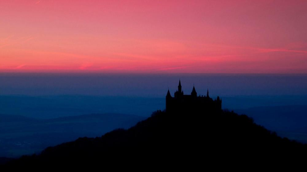 Hohenzollern Castle silhouette at night wallpaper