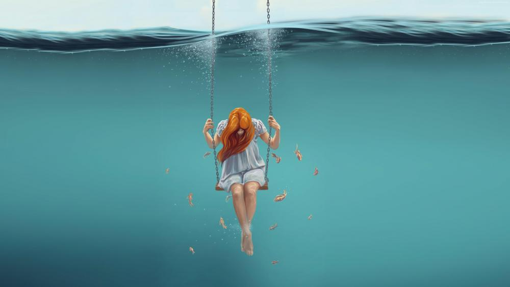 Red-haired girl in the water wallpaper