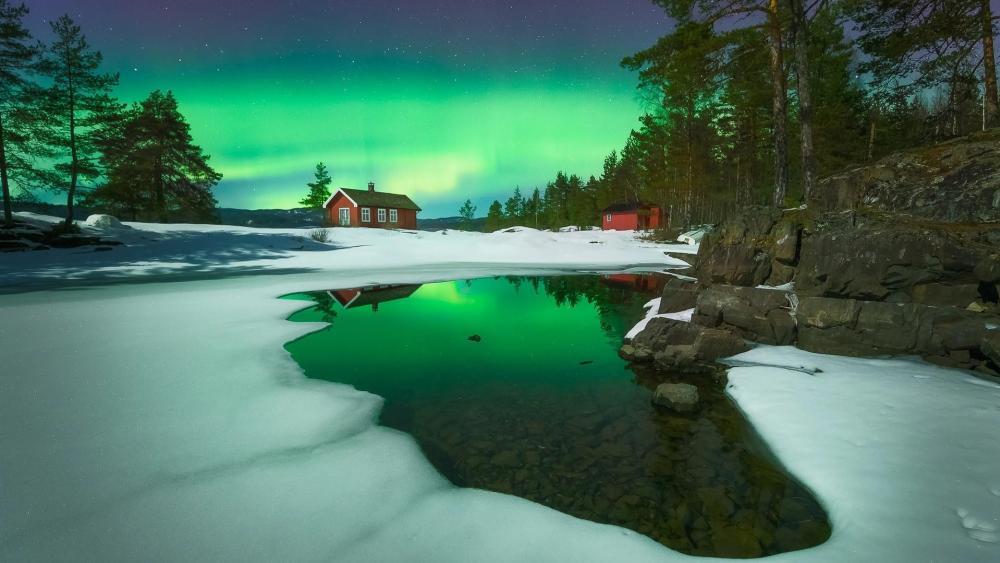 Aurora Borealis in Ringerike, Norway wallpaper