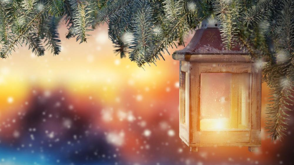 Christmas lantern wallpaper