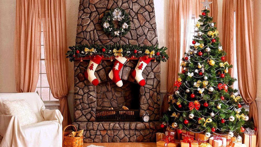 Christmas tree with Christmas gifts wallpaper