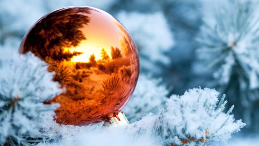 Christmas ball reflection wallpaper