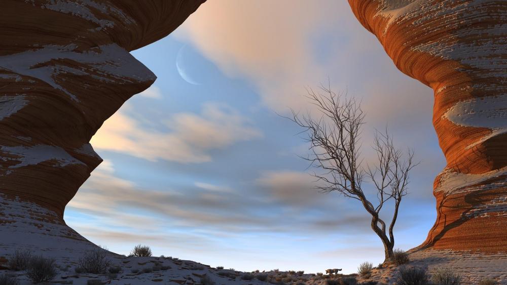 Desolate desert scenery wallpaper