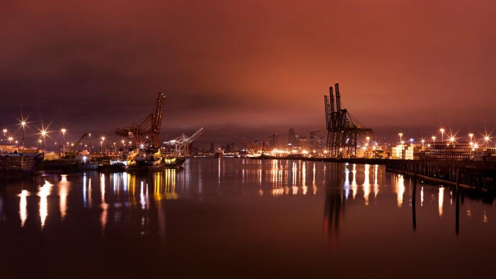 Harbor Island at night (Seattle) wallpaper