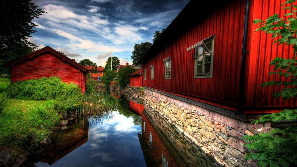 Red Village wallpaper