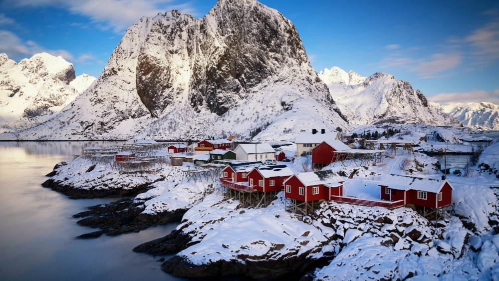 Fishing village in Norway wallpaper