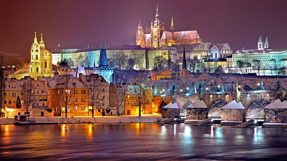 Winter night in Prague wallpaper
