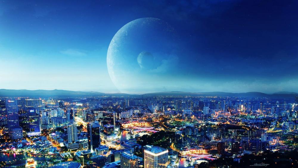 Night city - Fantasy art wallpaper
