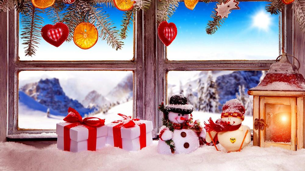 Christmas window decoration wallpaper