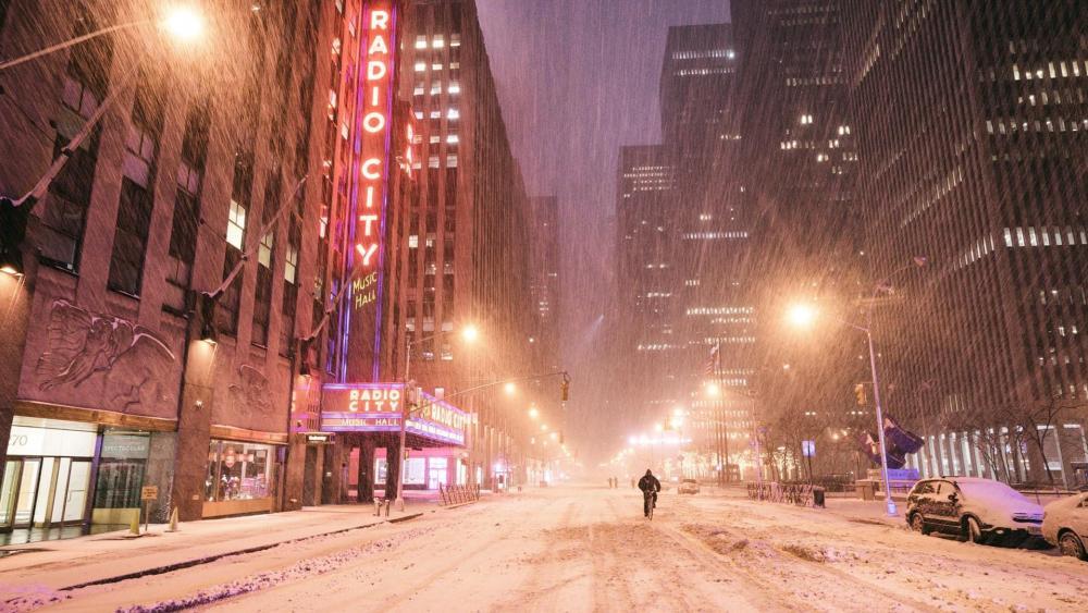 Manhattan snowfall wallpaper