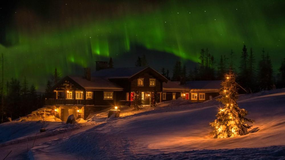 Christmas Day Northern Lights wallpaper