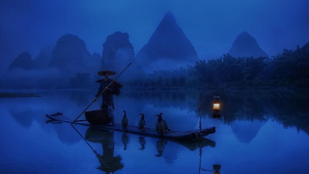 Chinese fisherman wallpaper