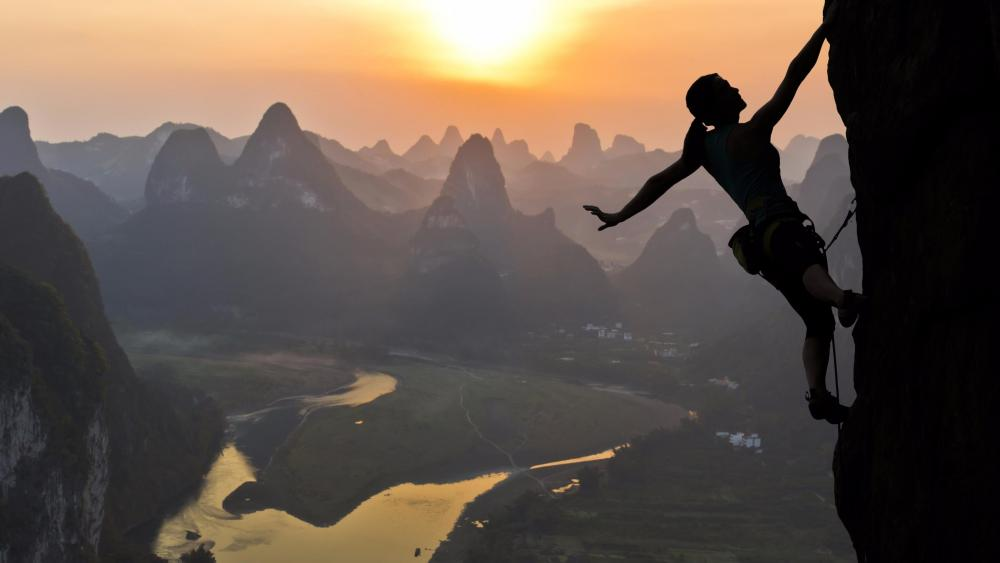 Yangshuo rock climbing wallpaper