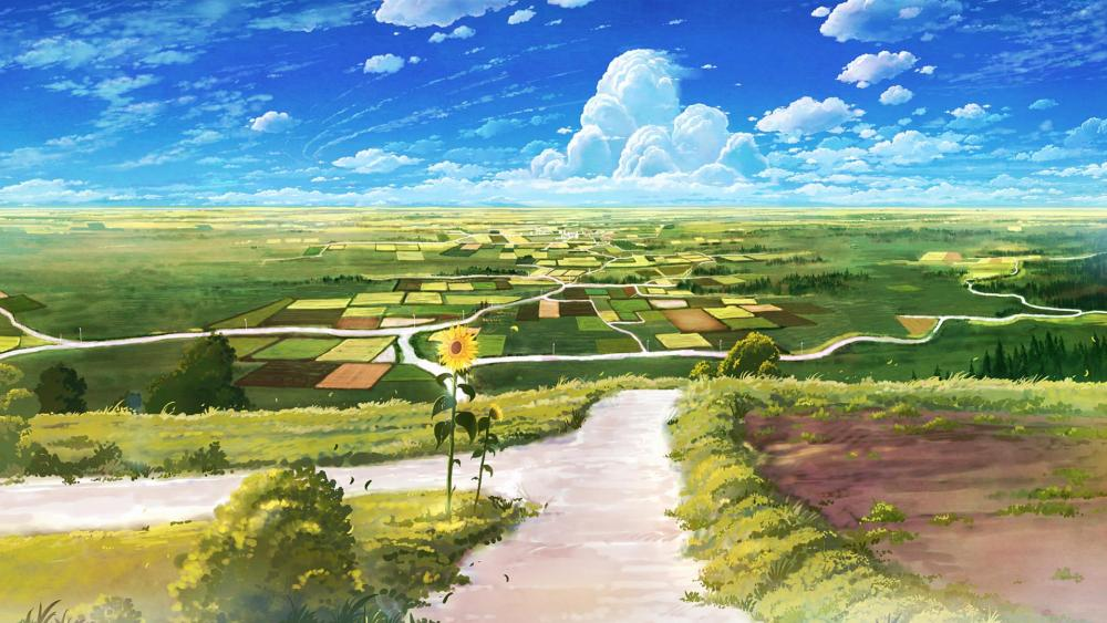 Country road - Anime landscape wallpaper