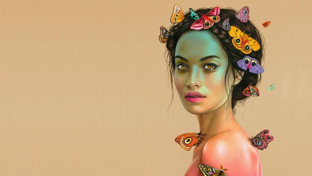 Beautiful woman with butterfiles - Fantasy art wallpaper