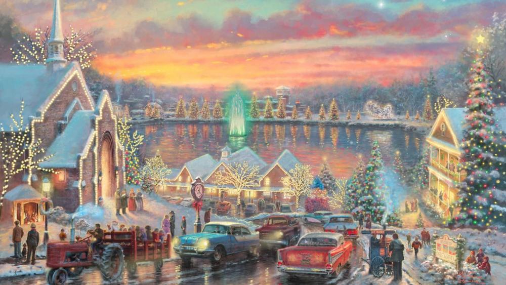 Lights of Christmas Town wallpaper