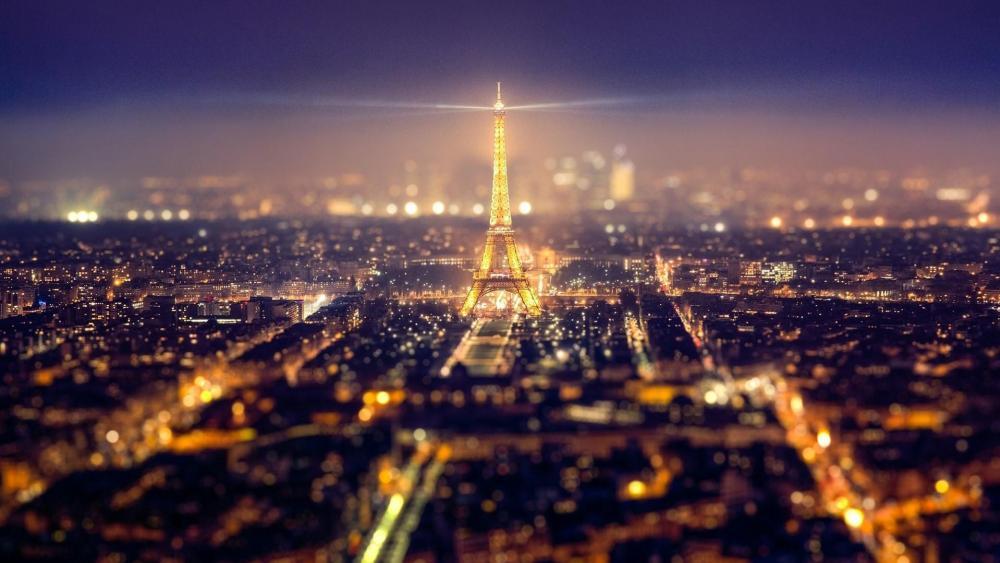 Paris at night - Tilt-shift photography wallpaper