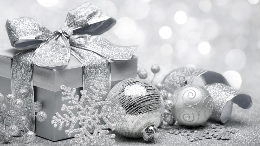 Silver Christmas decoration wallpaper
