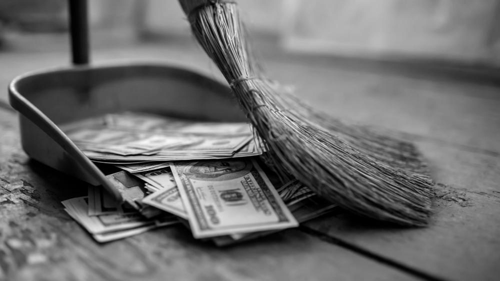 Money sweeping wallpaper