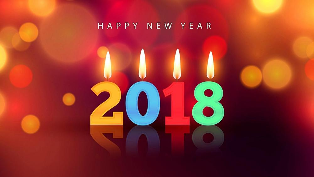 New Year 2018 greetings card with candles wallpaper