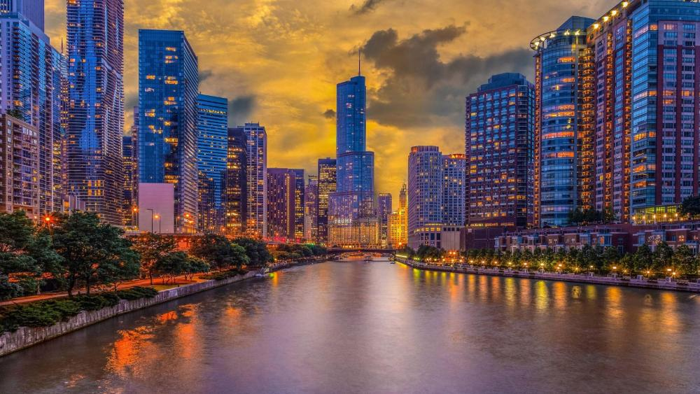 Trump Tower from the Chicago River Columbus Drive Bridge wallpaper
