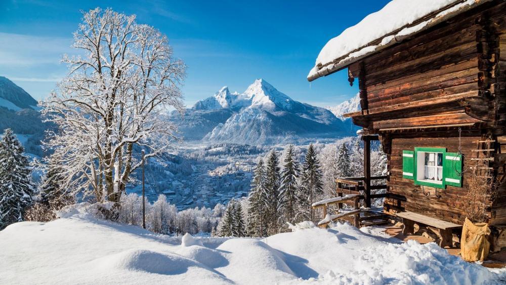 Winter wonderland in the Alps wallpaper