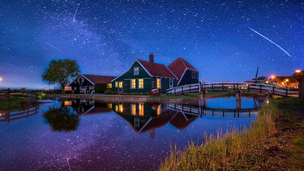 Night Landscape in Netherlands countryside wallpaper