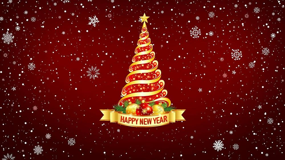 Happy New Year Christmas Tree wallpaper