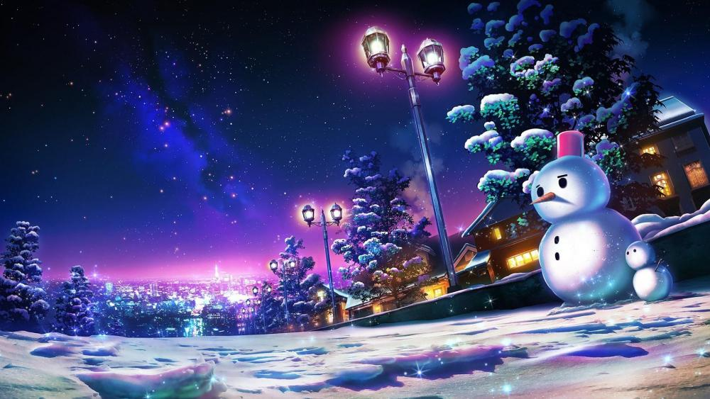 Anime night Landscape wallpaper