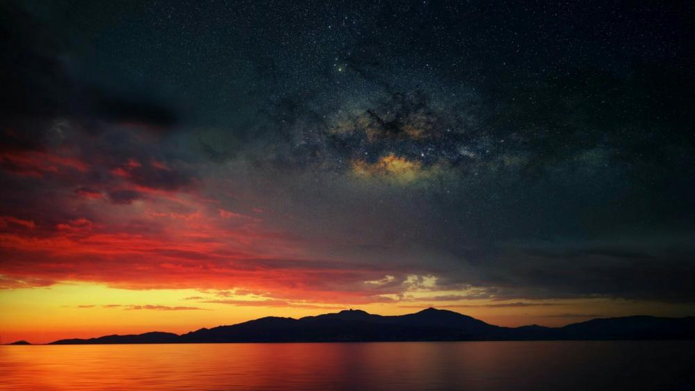 Milky Way and sunset wallpaper