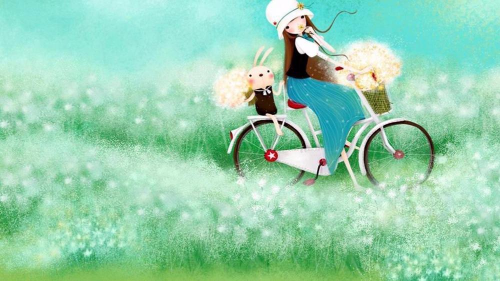A girl on a bike wallpaper