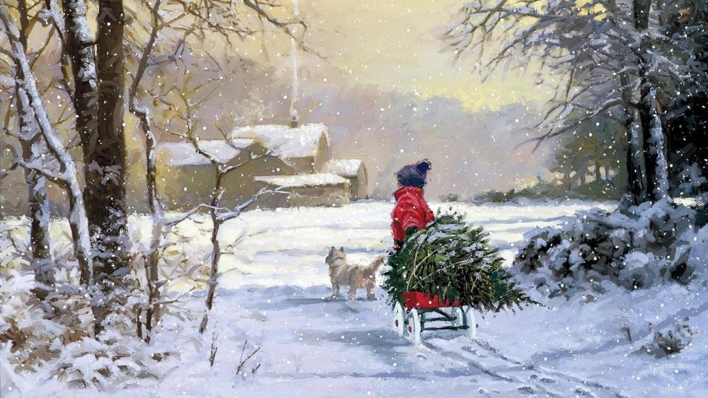 Christmas painting art wallpaper