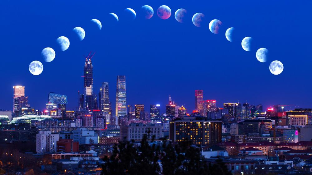 Total lunar eclipse in Beijing wallpaper