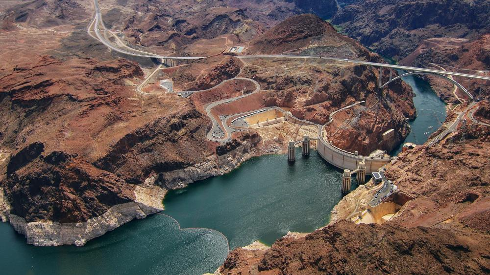 Hoover Dam aerial view wallpaper