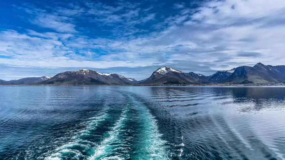 Norway mountains from the sea wallpaper